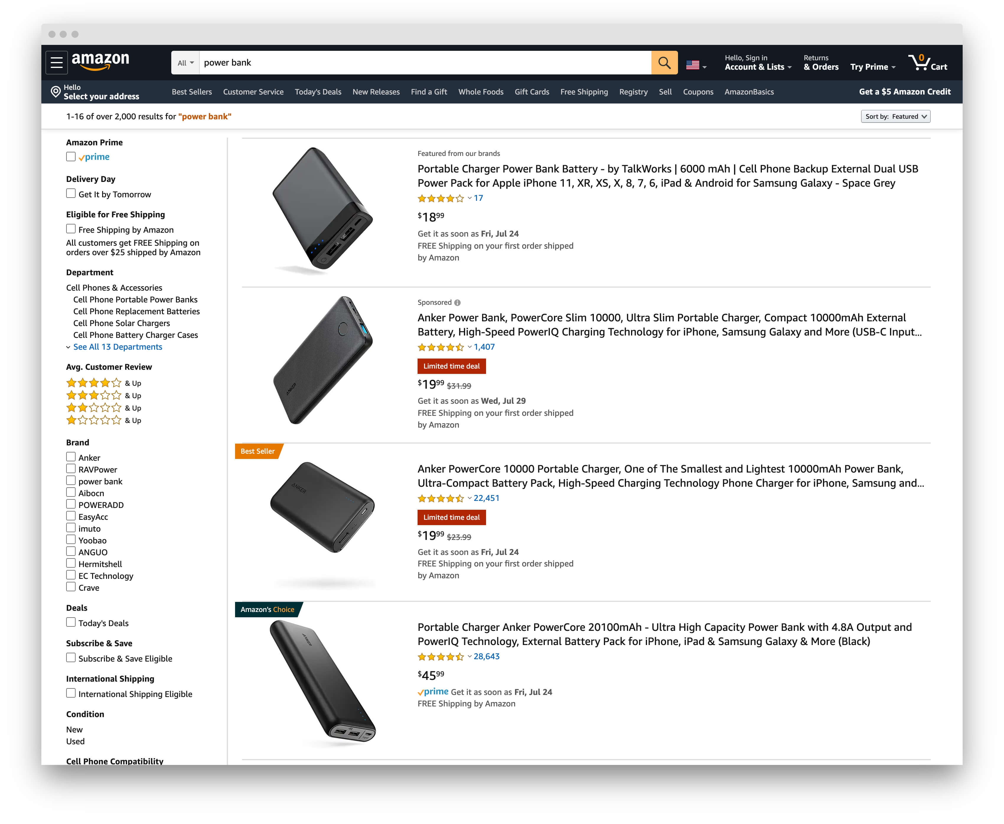 Amazon search for 'power bank'