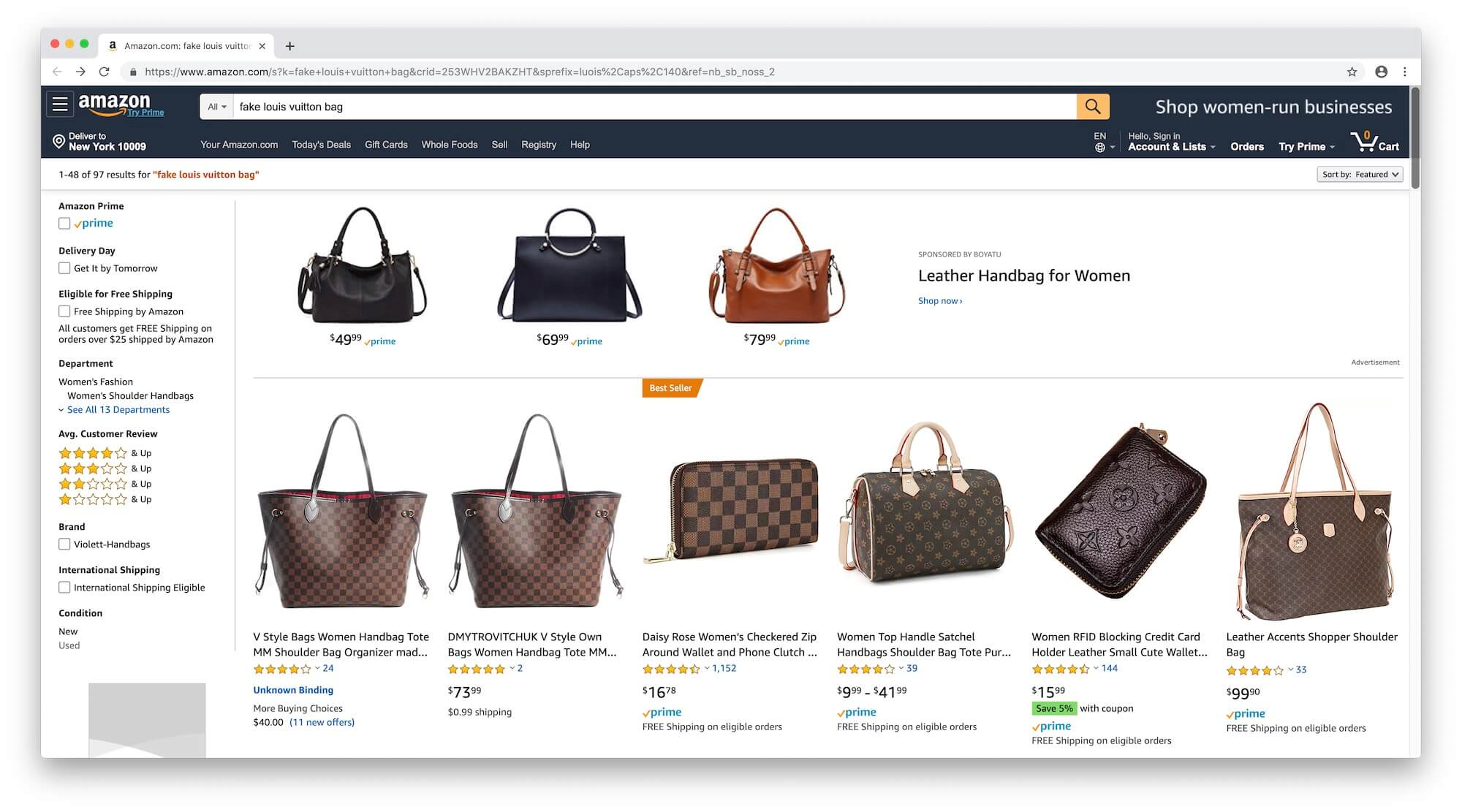Fake Louis Vuitton Bag on Amazon
