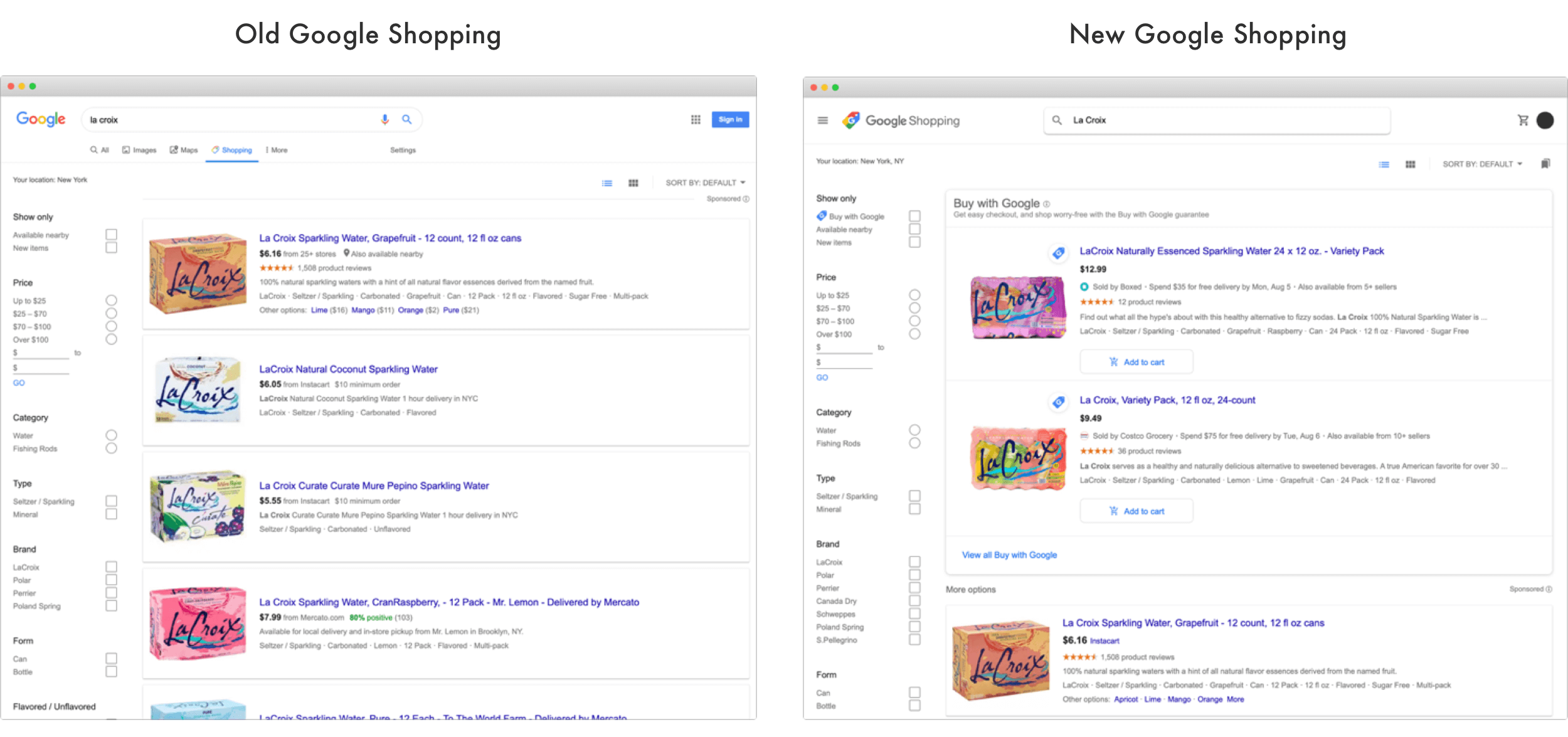 Google Shopping old vs new