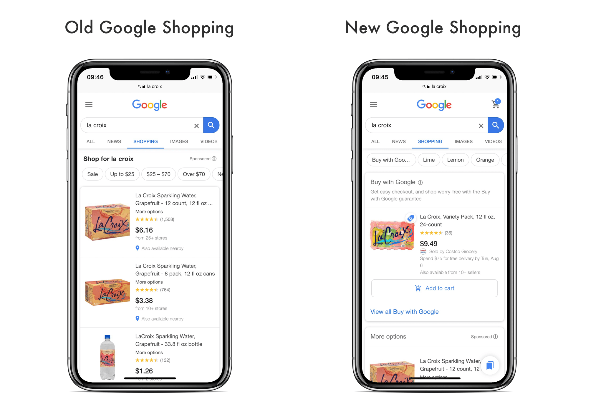 Google Shopping in search old vs new