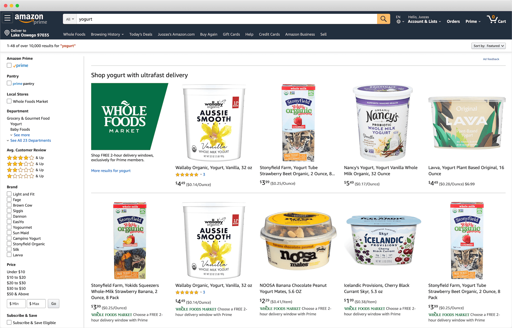 Amazon Whole Foods Search Results