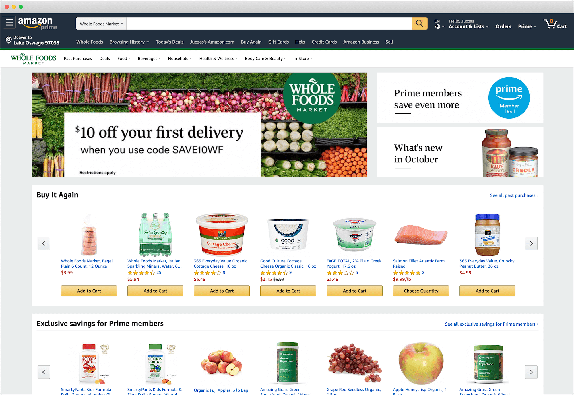 Amazon Whole Foods Storefront
