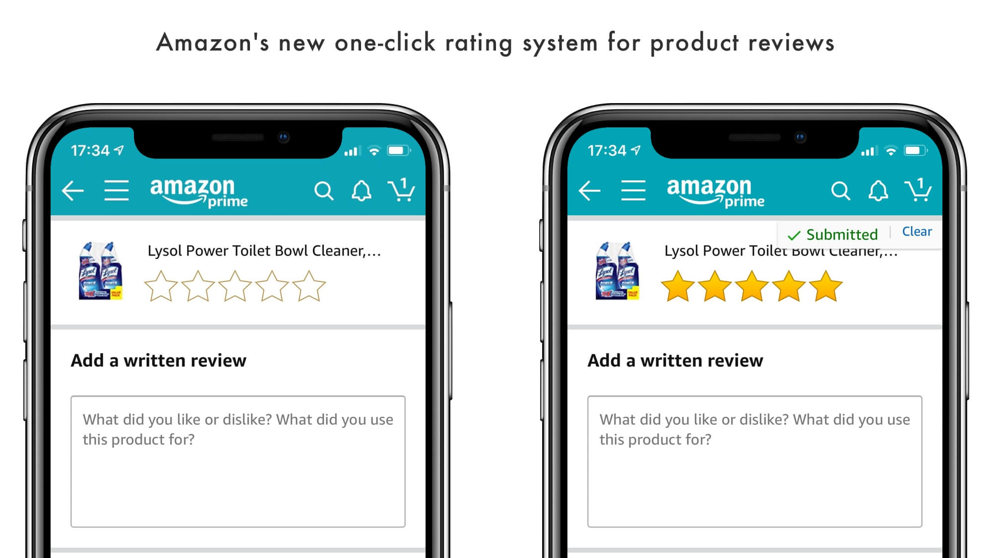 Amazon's new one-click rating system for product reviews