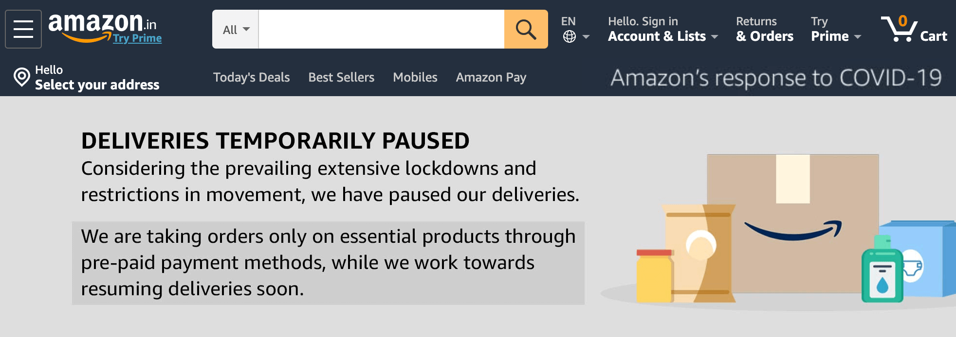 Amazon India Suspended Deliveries