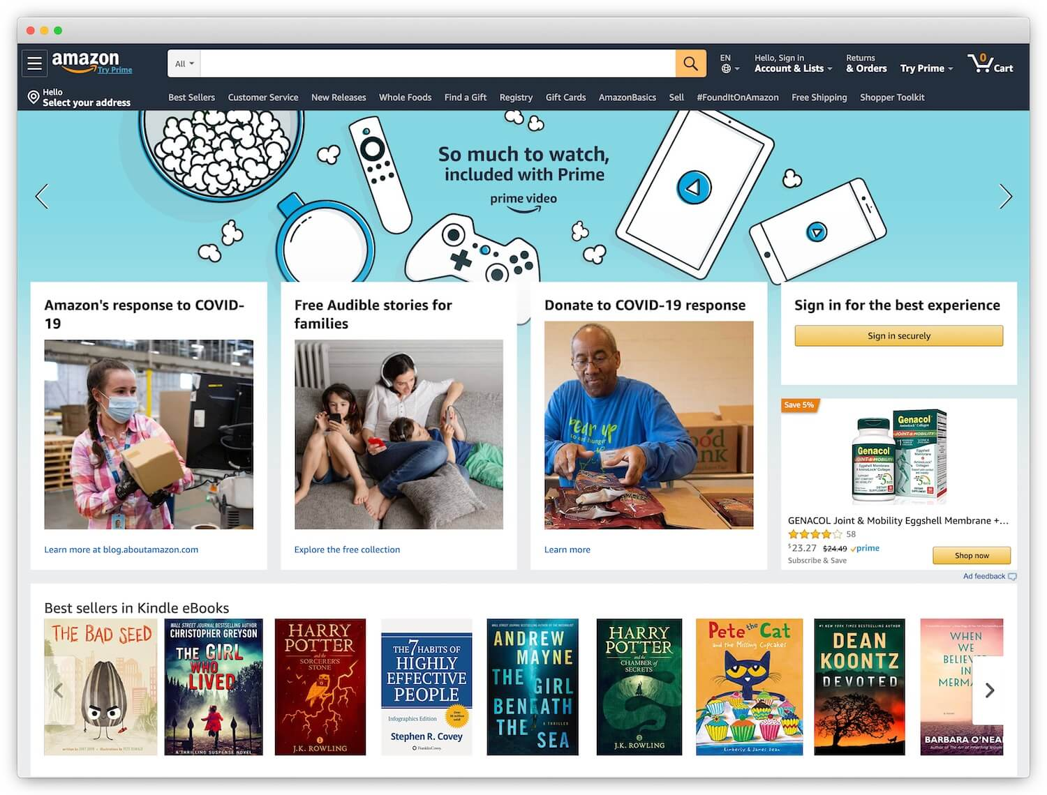 Amazon homepage showing only books