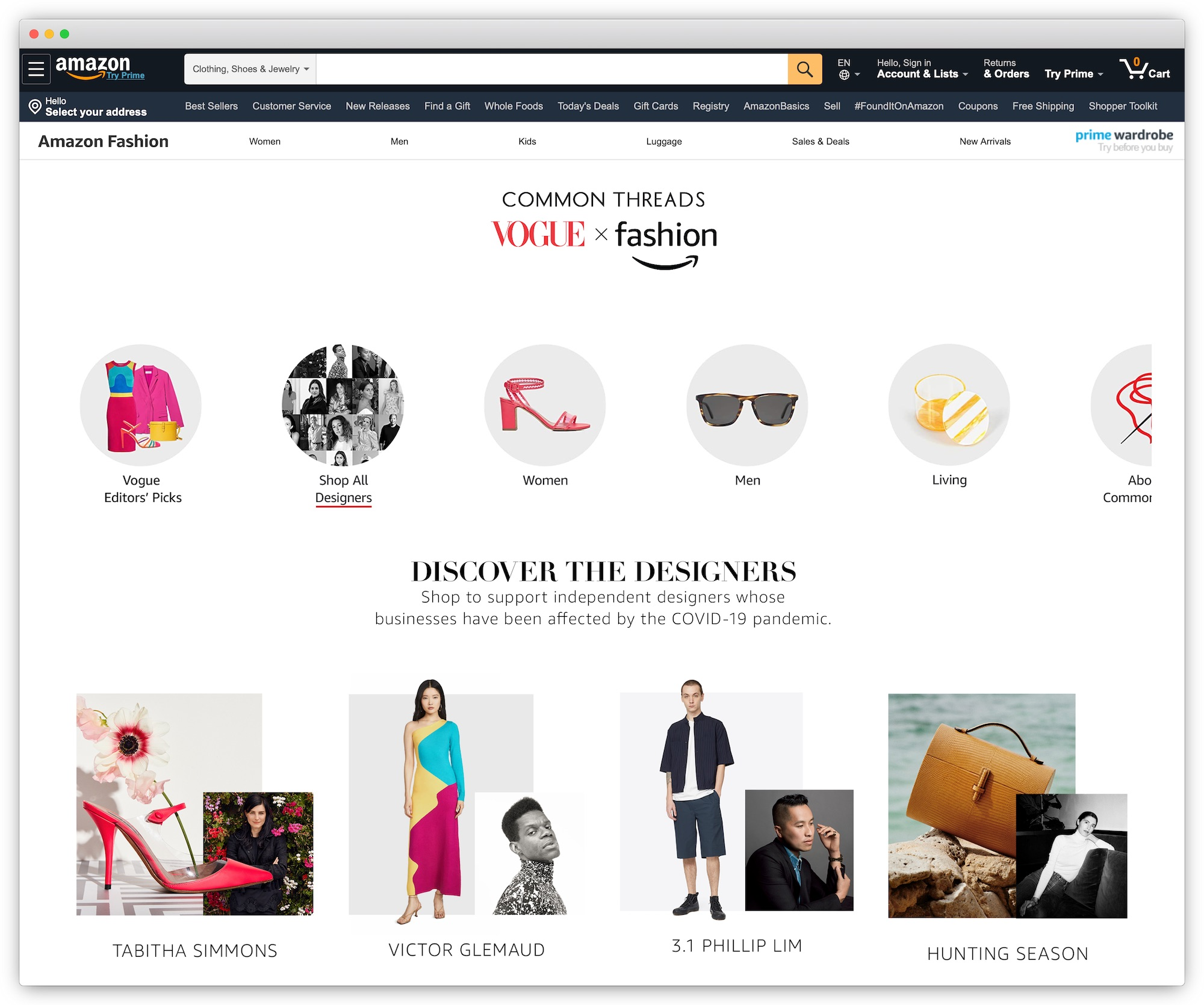 Amazon Common Threads storefront
