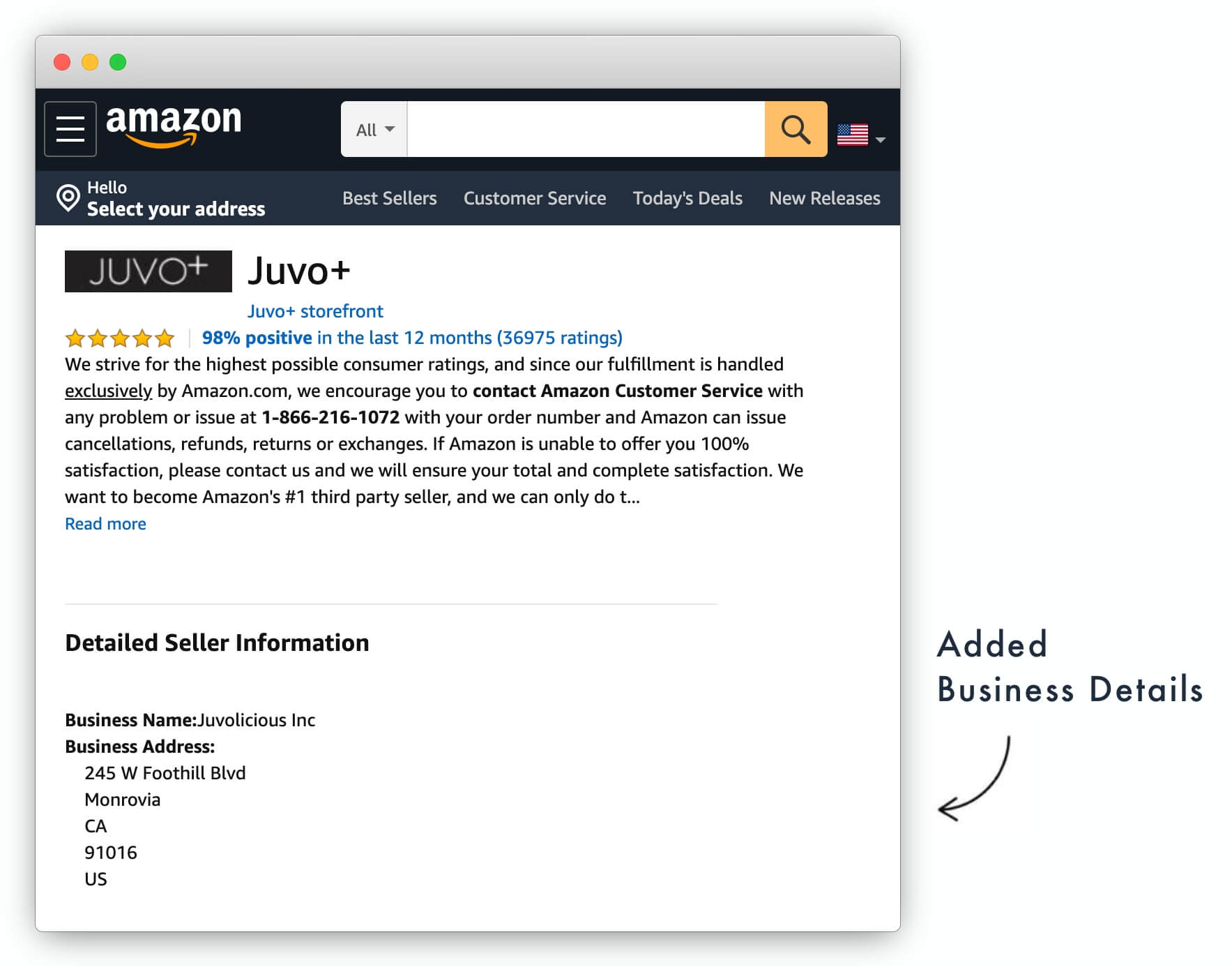 Amazon Seller Profile with Business Name and Address